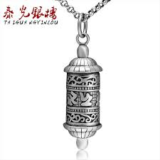 get ations thai silver floor light s925 silver thai silver mantra prayer wheel pendant retro silver jewelry buddhist