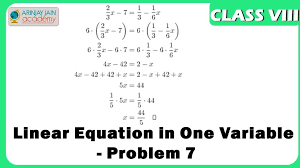 linear equation in one variable problem 7 maths maxresde math formulas worksheet worksheets for 8th grade