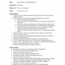 Warehouse Supervisor Job Description Resume Storekeeper Sa - Rs Geer ...