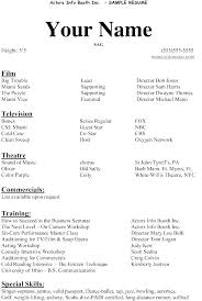 Resume Outline Templates Sample Actor Resume Free Acting Resume