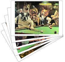 com dogs playing pool prints set of all five posters prints