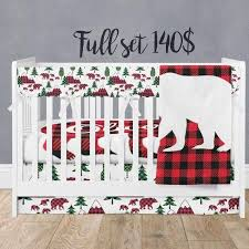 buffalo plaid woodland crib bedding set