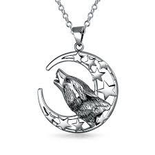 howling wolf moon drawing. Contemporary Wolf Bling Jewelry Howling Wolf Moon Pendant 925 Silver On Drawing T