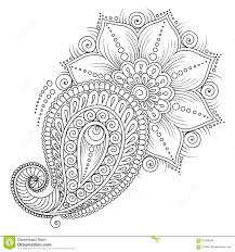 pattern for coloring book fl elements in indian style stock vector ilration