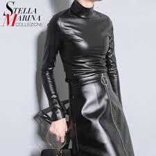 new 2016 japanese style women autumn black faux leather pu tee top long sleeve harajuku t shirt turtleneck slim y t shirt 781