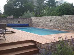 Piscine Semi Enterr E Bois Et Pierre Piscine Pinterest