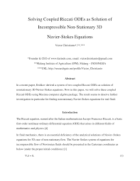 pdf solving coupled riccati odes as solution of incompressible non stationary 3d navier stokes equations