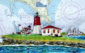 Details About Point Judith Lighthouse Art Print Uscg Eagle Fishing Ri Gift Ocean Ship Light