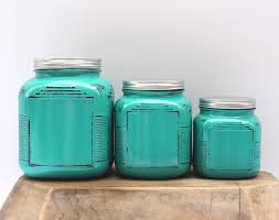 Green Canister Sets Kitchen Anchor Hocking Cracker Jar 3pc Kitchen Canister Set In
