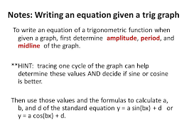 notes writing an equation given a trig graph