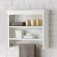Home Decorators Collection Creeley 24 In W X 21 In H X 7 In D Wall Mount 2 Tier Bathroom Shelf With Towel Bar In Classic White 19eoswc22 The Home Depot