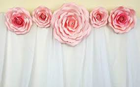 Pink Paper Flower Decorations Decorinthebox Large Handmade 5 Piece Paper Flower Set Baby Shower Nursery Decoration Fully Assembled Light Pink