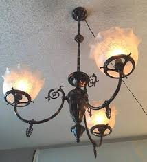 antique 1890 japanned copper 3 light ceiling fixture gas chandelier