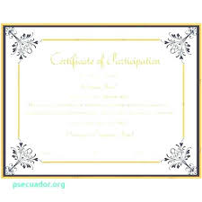 Samples Of Certificates Of Participation Template For Certificate Of Participation Certificate Sample For