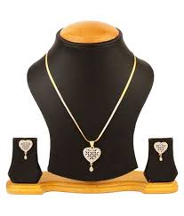 bandish gold toned heart shaped american diamond pendant set with chain