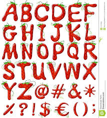 Designer Letters Ofthe Alphabet Letters Of The Alphabet With Strawberry Design Stock Vector