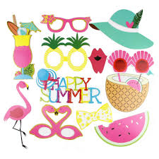 Summer <b>Party</b> Hawaiian Photo Booth Props <b>12 pcs</b> /set <b>Flamingo</b> ...