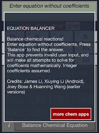 chemistry equation balancing calculator free on the app
