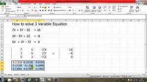 how to solve 3 variable equation by using excel