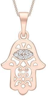 kj beckett filigree hamsa cubic zirconia pendant rose gold silver