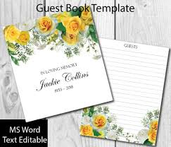Funeral Guest Book Template Yellow Roses Guest Book Template Diy Guest Book Funeral