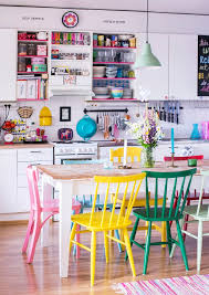 bright colored furniture. love the brightly colored chairs in this kitchen dining space bright furniture