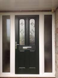 front doors with side panels2 Panel 2 Arch Crystal Diamond Composite Front Door in Black with
