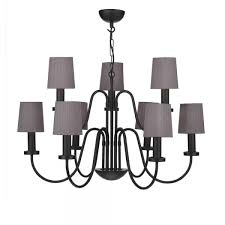 pigalle large 9 light black chandelier with charcoal grey silk shades