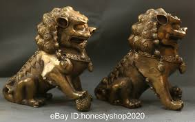 Chinese Bronze Fengshui Foo Fu Dog Guardion Lion Evil Pixiu Beast Statue  Pair Q