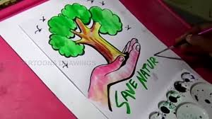 save nature drawings how to draw save trees and save nature drawing for kids you