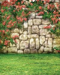 <b>Rock Stone Wall</b> Blossoms Garden Photography Background Vinyl ...