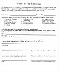 Sample Medical Records Release Form Sample Records Release Form 9 Examples In Word Pdf