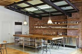 images shelves on brick wall contemporary kitchen stainless steel cabinet fronts wood shelves brick wall hanging shelves