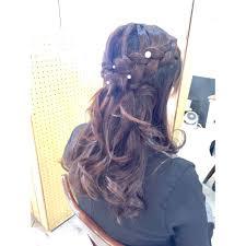 編み込みハーフアップアレンジ Hair Make Up Roquat Salonヘア