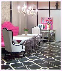 thanksdining rooms hilary white liv chic modern baroque pink dining room lucite chairs mirrored buffet chandelier tufted black and white punk love awesome