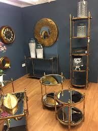 antique style gold glass tall round display shelving unit h18395