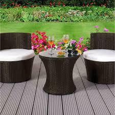 3 piece rattan bistro stackable garden