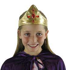 Childrens Fancy Dress King Queen Gold Crown with Ruby Red Jewell Prince  Princess | eBay