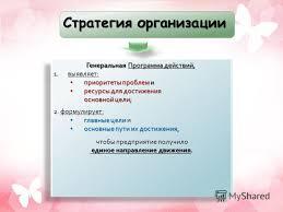 Презентация на тему КУРС Стратегический менеджмент ТЕМА ТЕМА  4 Стратегия организации Генеральная