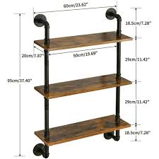 industrial pipe bookcase wall shelf