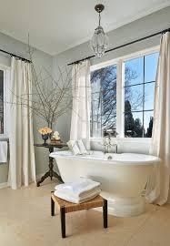 traditional bathroom lighting ideas white free standin. Gray And White Bathroom With Classic Freestanding Bathtub, Footstool Side Table [Design: Traditional Lighting Ideas Free Standin V
