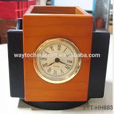 custom logo wooden pen holder high end desk clock with pen holder high end desk clock with pen holder table pen holder wood pen holder on