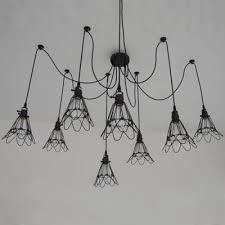wire guard 8 light pendant metal black spider chandelier for living room cafe clothes s