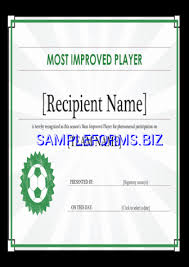 Most Improved Player Certificate Editable Title Docx Pdf