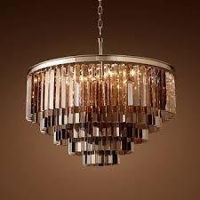 odeon smoke glass fringe 5 tier chandelier gold