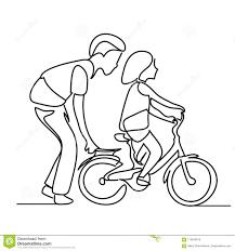 Un Disegno A Tratteggio Del Bambino Daiuto Del Padre Per Condurre
