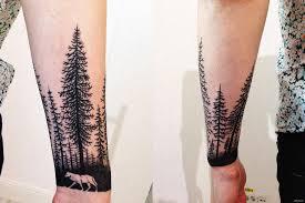 тату на руке леса