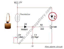 simple fire alarm thermistor circuit diagram circuits gallery simulation of simple fire alarm circuit led