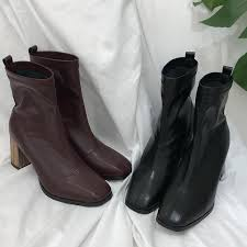 monmoira wood heel ankle boots for women vintage square toe high heel sock boots women solid winter swe0474 over the knee boots cowgirl boots from palex