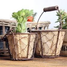 office flower pots. Hot Sale Mini Round Basket Single Handle Jute Holder Flower Planter Home Garden Office Decor For Pots
